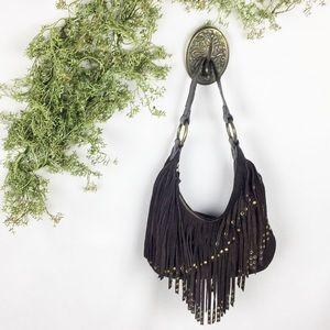 Express Genuine Suede Tassled Brown Handbag 🌿